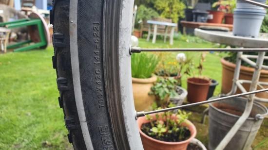 Rad und Speichen. Im Hintergrund Garten
